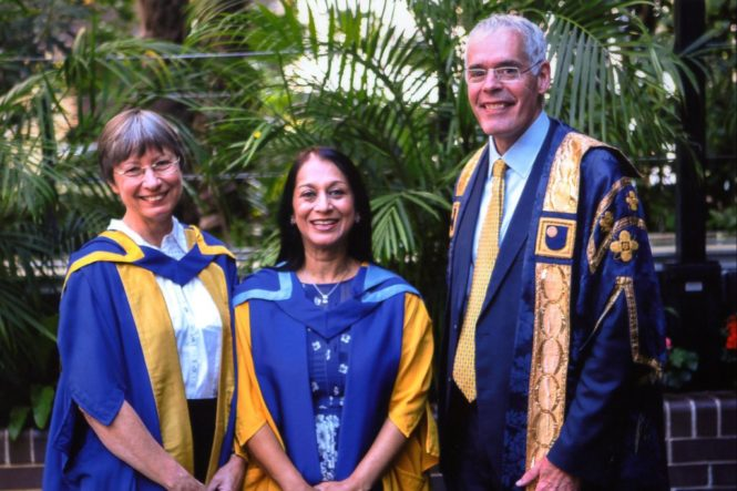 Dr Karen Kear, Lopa Patel MBE and Vice Chancellor of The Open University Peter Horrocks CBE