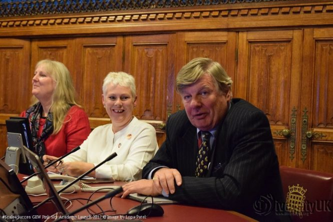 Helene Martin Gee, Deborah Leary and Lord Erroll at the launch of the Pink Sky Academy